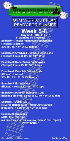 2 GYM WORKOUT PLAN READY FOR SUMMER MEN DAY 5 ARMS ABS » UltimateWorkoutPlans.com
