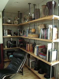 Hand Made Built-In Metal And Reclaimed Wood Bookcase by Mortise & Tenon Custom Furniture | CustomMade.com