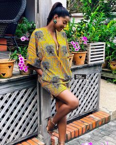"""How are YOU styling your african prints this summer? • @afuarida making our Monday bright and sunny and gorgeous in this yellow """"akyikyidi3 tsi"""" (tortoise's back) print. Shop this print and many others from our shop in Airport. • GHC105 for 6yds / GHC40 for 2yds • • #blogger #bloggerstyle #style #styleinspiration #fashion #summer #yellow #ootd #print #africanprint #waxprint #ankara #design #keky3 #keky3fabrics"""