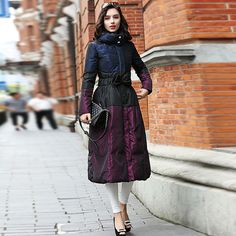 YNZZU New Winter Collection Women Warm Down Coat Elegant Purple Waist Bow Female Extra Long Slim Jackets Parka Windproof >> Click picture for details << Warm Down, Purple Skirt, Down Coat, Aliexpress, Winter Collection, Ideias Fashion, Midi Skirt, High Waisted Skirt, Slim