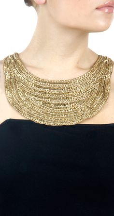 Gold necklace by PAYAL SINGHAL. Shop at http://www.perniaspopupshop.com/whats-new/payal-singhal-gold-necklace-pylc0813per13.html
