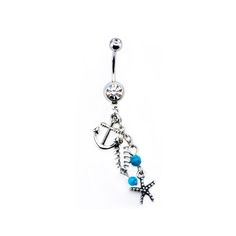 14g 7/16 Navel with Anchor,Starfish and Fishbone Dangle Charm. #Bodyvibe #Bodyjewelry #NavelRing #Dangle #Anchor #Charm  #Newstyle #Bodypiercingjewelry #Piercings #316L #Stainlessteel