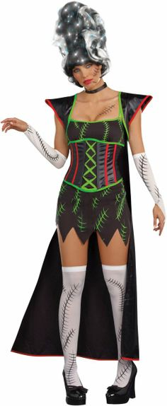 The girlfriend of Frankenstein is looking hotter than ever! The Frankencutie Movie Costume for Women's features a stretch knit dress with a faux waist corset attached, a long jacket, . Halloween Costumes For Sale, Scary Costumes, Adult Halloween, Girl Costumes, Adult Costumes, Costumes For Women, Halloween Makeup, Halloween Ideas, Costume Ideas