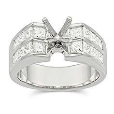 Platinum Princess Cut Diamond Ring Mounting from Borsheims