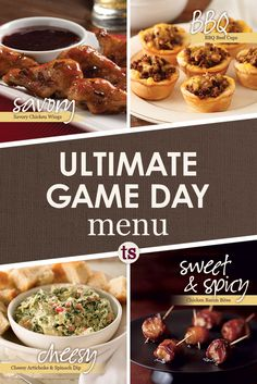 Game Day Menu | Tastefully Simple | Savory, BBQ, cheesy and sweet & spicy appetizers.
