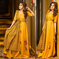Ready Made Dresses Yellow Designer Taffeta Silk Stich Gown With Silk Dupatta Kurti Designs Party Wear, Lehenga Designs, Salwar Designs, Blouse Designs, Indian Designer Outfits, Designer Gowns, Trajes Pakistani, Stylish Dresses, Fashion Dresses