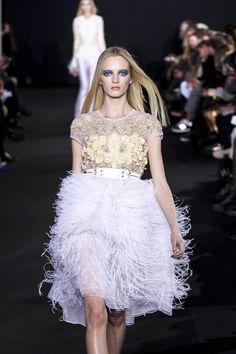 PRABAL GURUNG  Fall 2012 Full Feather Trimmed Sheer Skirt In White