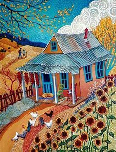 Sally Bartos ~ New Mexico Artist - Artsy Gardens Cottage Art, Art Brut, Land Of Enchantment, Southwest Art, Arte Popular, Naive Art, Whimsical Art, New Mexico, Kitsch