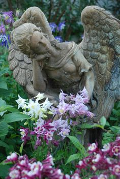 Tuck this stone angel into your garden for an unexpected vision.  She looks as if she's sleeping on a bed of flowers!  We design unexpectedly beautiful gardens in the Minneapolis MN area.  http://www.aldmn.com