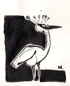 Crane  Carbon Ink Drawing on Hemp Paper. by mellonfineart on Etsy, $15.00