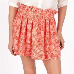 BCNU Juniors Printed Mini Skirt with Ruffled Waist #VonMaur #BCNU #Printed #Orange #Ruffles