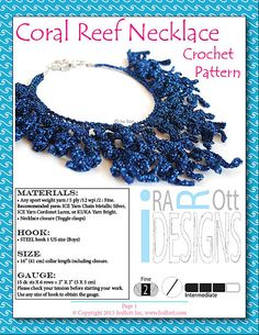 Coral reef necklace free crochet pattern PDF