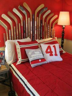 13 DIY Headboards For Beautiful Bedrooms - Diy kopfteil Cool Teen Bedrooms, Beautiful Bedrooms, Hockey Bedroom, Home Decoracion, Diy Casa, Man Room, Room Themes, My New Room, Small Rooms