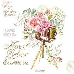 Watercolor Floral Retro Photo Camera. Vintage Wedding, Invite, Greeting card, DIY, Transparent png, Roses fowers invitations, leaves,…