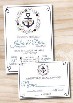NAUTICAL WREATH Nautical Beach Wedding Invitation / Response Card - 100 Professionally Printed Invitations & Response Cards with Envelopes