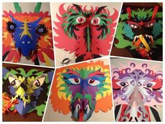 Cut paper dragon masks - symmetry, organic shape, and Medieval with 6th