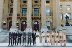 Amy & Rob - Downtown YEG Wedding. Bridal Party, Groomsmen, Bridesmaids, Large Bridal Party