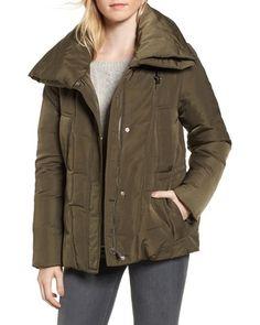DEAL ALERT: Women's Dkny Prato Twill Wide Hood Puffer Coat, Size Small - Green