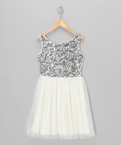Look at this zulilyfind! White &amp Gold Sequin Collar Swing Dress ...