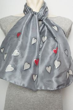 Valentines' Day Present  Hand Painted Silk Scarf by LigaKandele, $36.00