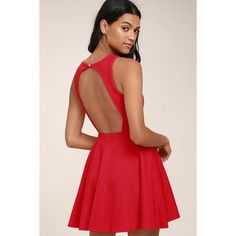 Lulus  Gal About Town Red Skater Dress ($49) ❤ liked on Polyvore featuring dresses, red, sleeveless dress, circle skirts, skater dresses, red sleeveless dress and red flared skirt