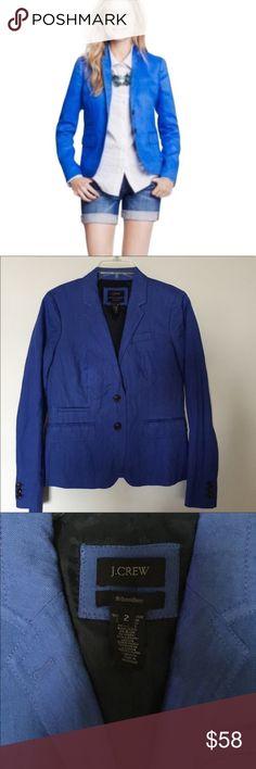 J Crew blue schoolboy blazer - size 2 J Crew blue schoolboy blazer - size 2. Welt pockets. Back vent. Rayon, poly, metallic thread herringbone fabric. Lined. Great preloved condition. J. Crew Jackets & Coats Blazers