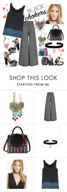 """""""Not-So-Basic Black Chokers"""" by westcoastcharmed ❤ liked on Polyvore featuring beauty, Lauren Conrad, Rosie Assoulin, Les Petits Joueurs, Forever 21, Kain and blackchokers"""