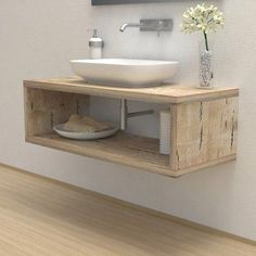 Solid wooden wash basin shelf Wash basin shelf - Bathroom furniture - Solid wood Solid wooden wash b Small Bathroom Sinks, Wooden Bathroom, Bathroom Basin, Bathroom Cabinets, Bathroom Furniture, Bathroom Storage, Antique Furniture, Wooden Furniture, Bathroom Shelves