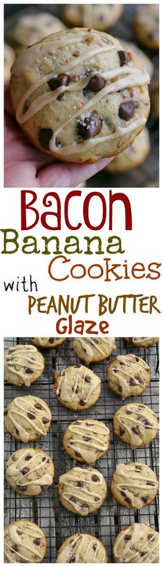 Bacon Banana Chocolate Chip Cookies with Peanut Butter Glaze and sprinkled with Sea Salt. They are as unbelievable as they sound, from NoblePig.com.