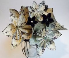 This bold bouquet is the largest size I offer in my shop It measures - inches across and inches tall It is crafted from several inch flowers crafted from a