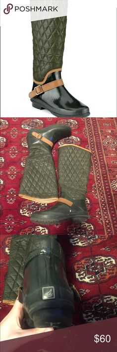 Sperry hingham Quilted riding rain boot Hunter green rain boots with an English riding style Sperry Shoes Winter & Rain Boots