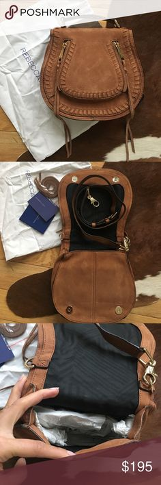 NEW Rebecca Minkoff Small Vanity Saddle Bag New! Comes with dust bag and original booklet. Nubuck suede leather in Almond. It comes with a top handle for ladylike vibes and a detachable strap when you just want to be hands free. Whipstitching and tassels add some moto edge. Perfect day to night bag Rebecca Minkoff Bags Crossbody Bags