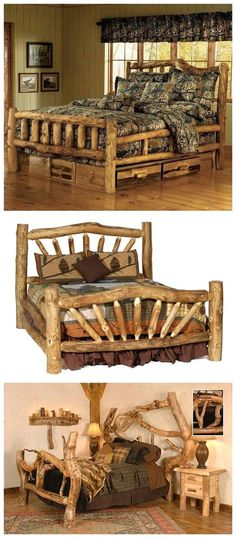 Beautiful Beds for the Cabin Jesse Doster. esp the top one! Be awesome when we s… Beautiful Beds for the Cabin Jesse Doster. esp the top one! Be awesome when we snuggle 😉 Log Cabin Furniture, Rustic Furniture, Log Bedroom Furniture, Western Furniture, Cheap Furniture, Furniture Plans, Furniture Design, Cabin Homes, Log Homes