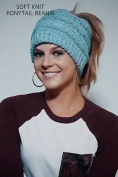 It seems as though, all of a sudden, these adorable beanies are everywhere you look and we are loving the look of this messy-hair don't care knit hats Knitted Hats, Crochet Hats, Ponytail Beanie, Knitting Accessories, Knit Beanie, Messy Hairstyles, Messy Bun, Don't Care, Autumn