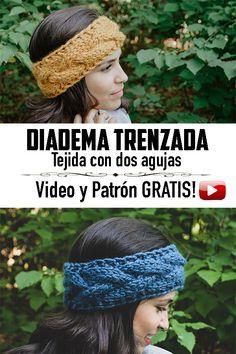 Knitting Videos, Crochet Videos, Knitting For Beginners, Free Knitting, Knit Headband Pattern, Knitted Headband, Knitted Hats, Crochet Hats, Botox Alternative