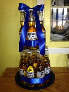 Replace with Redds! Birthday Party Themes, Birthday Gifts, Birthday Candy, Beer Bottle Cake, Beer Can Cakes, Liquor Bouquet, Beer Basket, Alcohol Cake, Un Cake