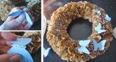Paper bag wreath - MaryJanes and Galoshes:  - I like for fall, but fall leaves instead