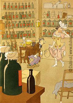 Albert Dubout, Sans titre, 1945 (Clochemerle, Gabriel Chevalier) Albert Dubout, Son Chat, Cute Cartoon, Drawings, Gabriel, Cartoons, Paintings, Illustrations, Fine Art Paintings