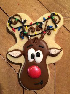 Reindeer cookie, Rudolph cookie, Christmas cookie, - New Ideas Iced Cookies, Cute Cookies, Royal Icing Cookies, Cookies Et Biscuits, Cupcake Cookies, Cupcakes, Gingerbread Man Cookies, Christmas Sugar Cookies, Holiday Cookies