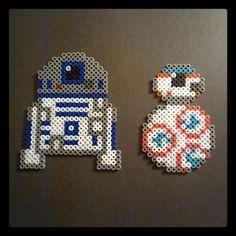 R2D2 and BB-8 Star Wars VII perler beads by h3xa6ram