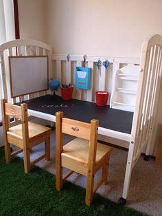 20 Creative DIY Furniture Hacks | Old crib turned into a kid's craft table!