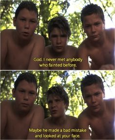 River Phoenix, Corey Feldman, and Jerry O'Connell; Chris, Teddy, and Vern in Stand by Me :))))