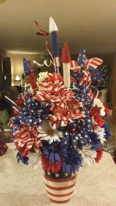 Patriotic flower arrangement!