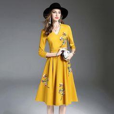 Embroidery Cotton Office Dress | Furrple