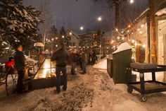 The back (east end) courtyard with large fire pits at McMenamin's Old St. Francis School Brew Pub and Hotel.- 15 Reasons to Visit Bend, Oregon, this Winter Bend, Central Oregon, Portland Oregon, Mall Of America, North America, Scenic Photography, Night Photography, Landscape Photography
