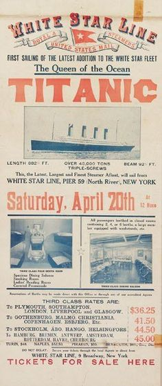 """Without question, the ugliest poster of the bunch, but Titanic-mania is sure to make this a top seller. """"This is one of the Holy Grails for Titanic collectors,"""" said Nicholas Lowry of Swann Gallery. The extremely rare poster is advertising 3rd-class tickets for the return trip!"""