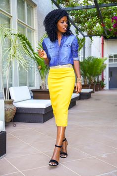 Chambray Top and Bright Yellow Pencil Skirt. Spring Outfit