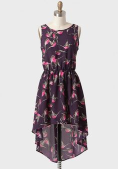 Bird Watching High-low Dress 39.99 at shopruche.com. A fuchsia and charcoal bird print takes flight on this lovely deep purple high-low dress. Finished with a flattering scoop back and an elastic waistband for a defined silhouette. Partially lined skirt.100% Polyester, Made in USA, 33