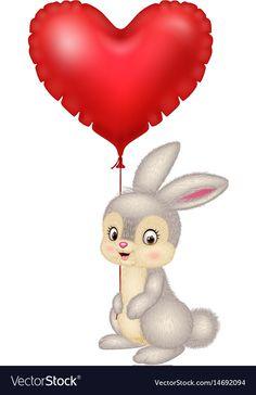 Cartoon bunny holding red heart balloons vector image on VectorStock Heart Balloons, Adobe Illustrator, Bunnies, Vector Free, Valentines Day, Rabbit, Cartoon, Christmas Ornaments, Holiday Decor