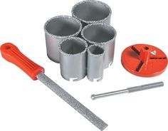 8 pc Carbide Grit Hole Saw Kit For the price it sure works well on really old hard stucco and cinder block Hole Saw, Cinder